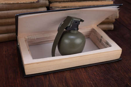 green hand grenade hidden in a book