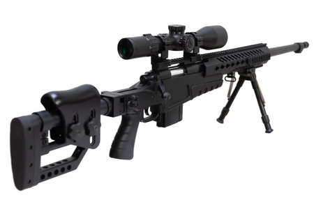 Caliber sniper rifle with bipod isolated on white