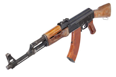 Rare first model AK - 47 assault rifle with a milled receiver isolated on white