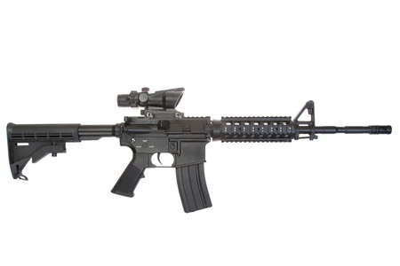 US Army carbine with optical sight isolated on a white background Banque d'images