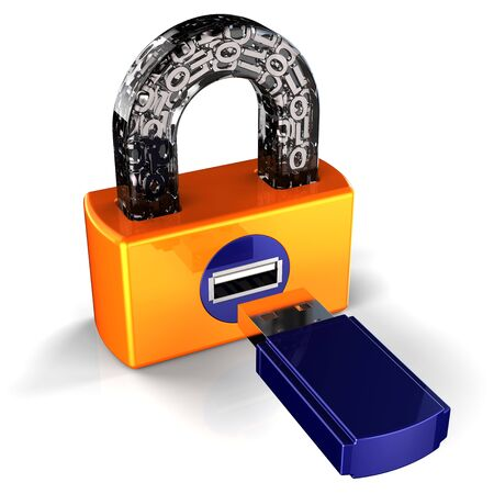 Digital USB padlock. Security concept. 3D render Stock Photo - 7618492