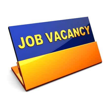 vacante: Brillante placa con la inscripci�n de vacantes de empleo. Procesamiento 3D Foto de archivo