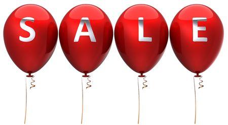 sale banner: Red sale balloons. 3D render