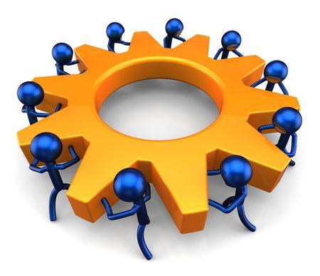 teamwork concept: Business process. Teamwork concept. 3D render (Hi-Res) Stock Photo
