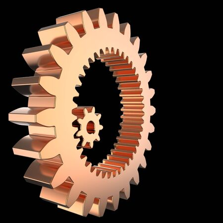 3D render of two shiny mechanic gears (one inside other). Isolated on black background photo