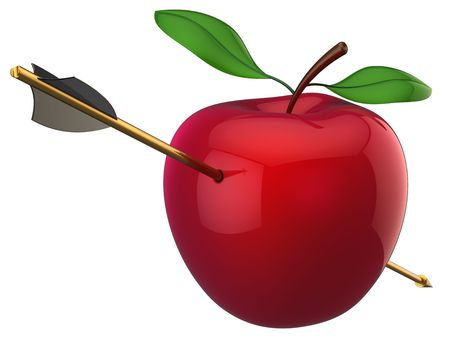 Apple hit by arrow. 3D render (Hi-Res). Isolated on white Stock Photo