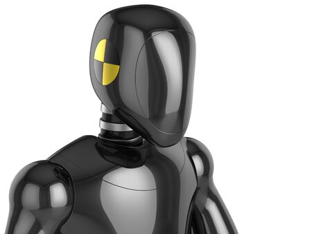 Crash Test Dummy metallic head and top part of his torso. This is a detailed 3D render (Hi-Res). Isolated on white background