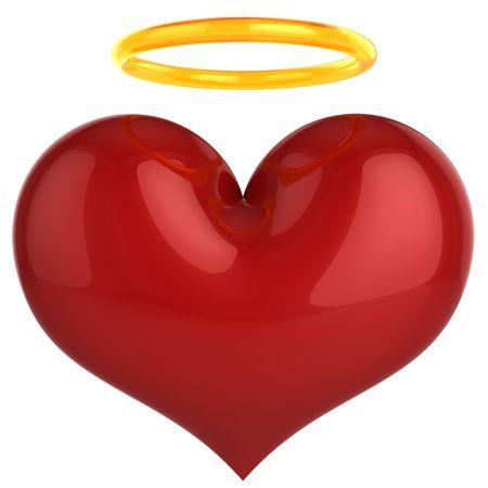 Angel heart. Heilige liefde concept. Dit is een gedetailleerde 3D-rendering (hi-res). Geïsoleerd op een witte achtergrond. Liefde zal de wereld redden! Stockfoto