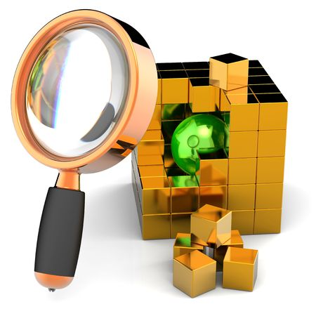 focus on shadow: Data search. I have found it! Green shiny sphere inside abstract golden data-cube under orange magnifying glass. Global search concept. 3D render