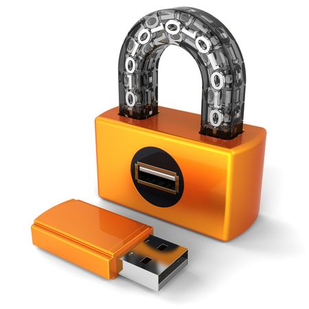 Data security concept. Digital Usb padlock and flash drive as key. 3D render (Hi-Res). Isolated on white background Stock Photo