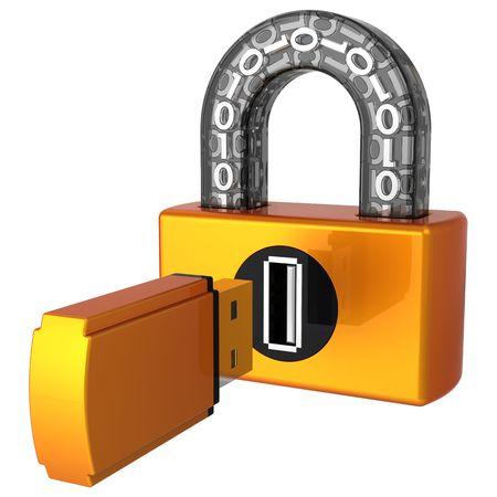 Concept de sécurité informatique. Serrure numérique de USB et lecteur flash comme clé près de trou de serrure. Rendu 3D (res). Isolé sur fond blanc