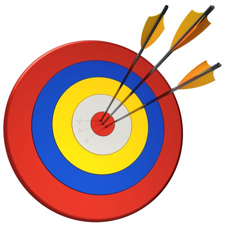 archery target: Hit a target 100 percents. Three arrows in bulls eye target. This is a detailed 3D render. Isolated on white
