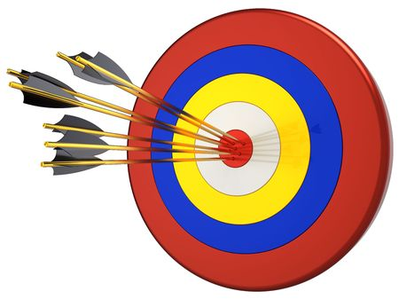 penetrating: Hit a target 100 percents. Seven arrows in bulls eye target. This is a detailed 3D render. Isolated on white background