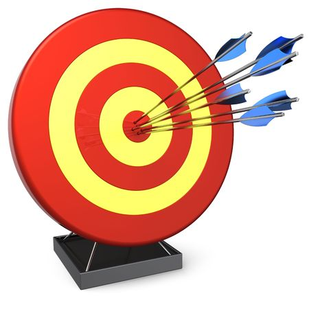 Hit a target. Six arrows in bulls eye target. 3D render (Hi-Res). Isolated on white background photo