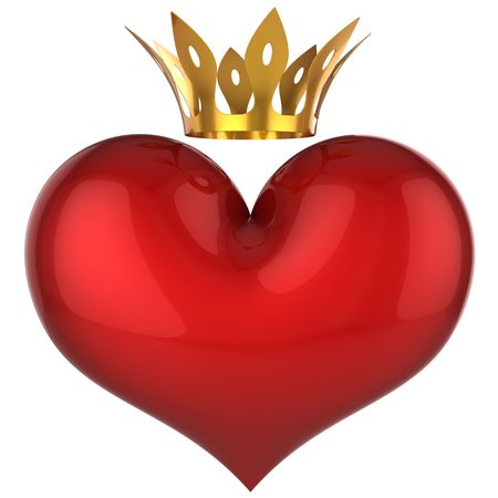 King heart. Lucky love concept. Red shiny heart with golden crown. This is a detailed 3D rendering. Isolated on white. Love will save the world! photo