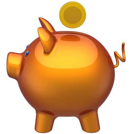 coinbank: Hucha con una moneda sobre �l. La vista de la derecha. Concepto de ahorro. Procesamiento 3D (alta resoluci�n). Aislados en blanco