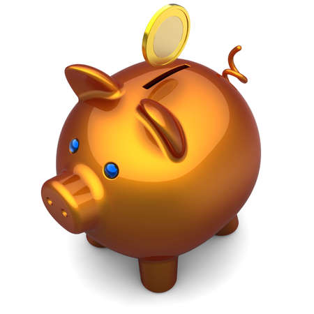 coinbank: Piggy bank with a gold coin over it. Savings concept. The top-side view. 3D render. Isolated on white background