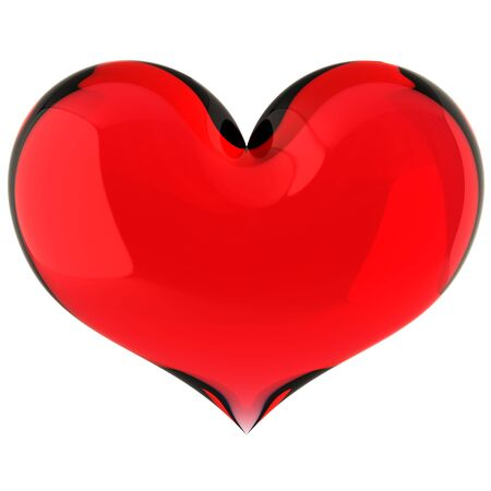 glass heart: Fragile Love. Glass red shiny heart shape. This is a detailed 3D rendering. Love will save the world!