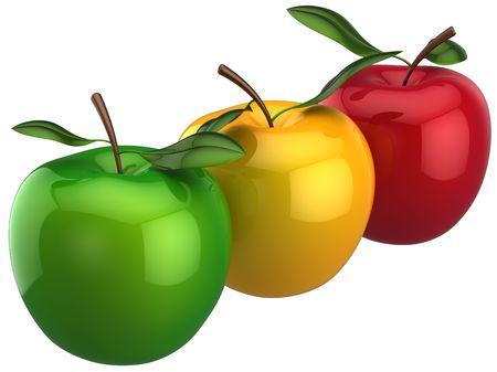 Frischen Äpfeln in Folge. Individualität Konzept. Dies ist detaillierte 3D Render (Hi-Res). Isolated on white background