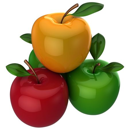 piramide nutricional: Deliciosas coloridas (rojas, amarillas, verdes) manzanas frescas con hojas de poco. Se trata de una representaci�n 3D detallada. Aislados en fondo blanco