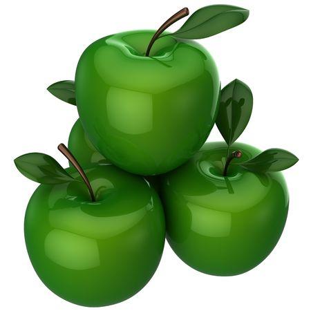 piramide nutricional: Manzanas verdes con hojas de poco. Se trata de una representaci�n 3D detallada (alta resoluci�n). Aislados en fondo blanco