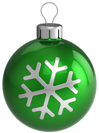 modern christmas baubles: Christmas ball. New year decoration. Green shiny bauble with silver snowflake shape on it. This is a detailed 3D render