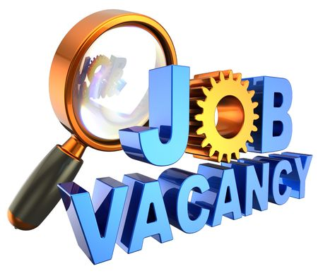 Vacancies: Blue shiny text Job Vacancy with the yellow gear in the form of a letter O under magnifying glass. Jobs search concept. 3D render. Isolated on white background