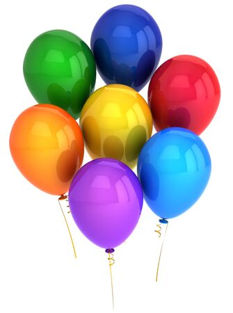 Party helium balloons multicolored. This is a detailed 3D render (Hi-Res). Isolated on white background photo
