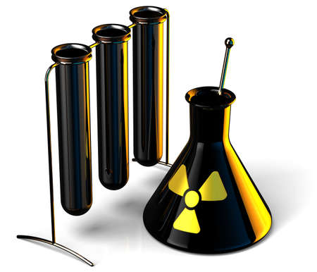 Black steel test tubes in Science Research Lab with Radioactive caution icon. 3D render. Isolated on white background photo