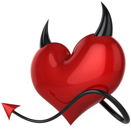 satan: Devil heart. Fateful love. Lover concept. Red shiny heart shape with black horns and a tail. This is a detailed 3D rendering. Isolated on white background