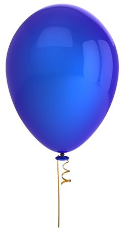 Blue party helium balloon. This is a detailed 3D render (Hi-Res). Isolated on white
