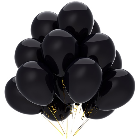 Bunch of black helium balloons. Sorrow and mourning decoration. Negative emotions concept. This is a detailed 3D render. Isolated on white background photo