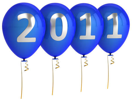 Christmas 2011 colorful helium balloons. Happy New Year. 3d render. Isolated on white background photo