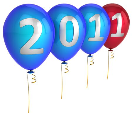 New Year 2011 colorful helium balloons decoration. This is a detailed 3d render (Hi-Res). Isolated on white photo