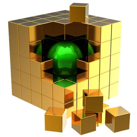 Data search. I have found it! Green shiny sphere inside abstract golden data cube assembling from blocks. Global searching concept photo