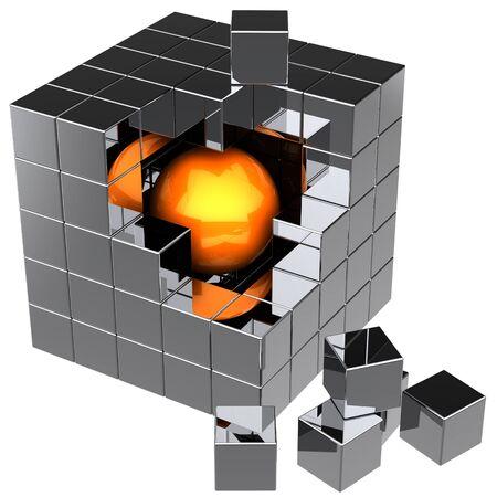 cubo: Montaje de bloques con esfera naranja brillante dentro del cubo de datos abstracta de cromo. Los he encontrado! Concepto de b�squeda global