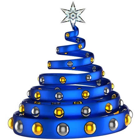 Modern blue christmas tree with shiny baubles and star. Stylized and beautiful. Happy New Year! This is a detailed 3D rendering Stock Photo - 8381451
