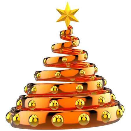 Modern stylized orange Christmas Tree with shiny golden baubles and star. This is a detailed 3D rendering. Isolated on white
