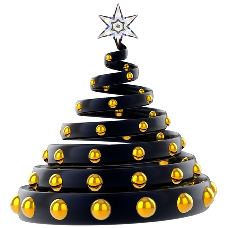 Abstract black Christmas tree with golden baubles and crystal star. Stylized and modern. Happy New Year! This is a detailed 3D rendering photo