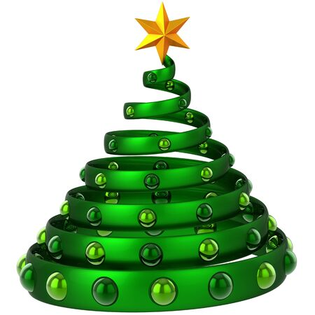 Modern green metallic christmas tree with baubles and shiny star. This is a detailed 3D rendering photo
