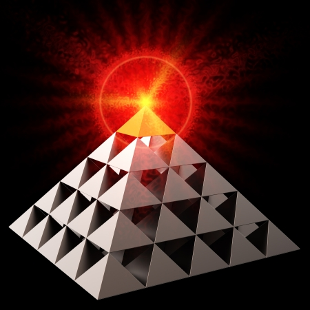 Golden all seeing eye financial pyramid abstract. Bright red burning on top. Leadership concept. This is a detailed 3D render. Isolated on black photo