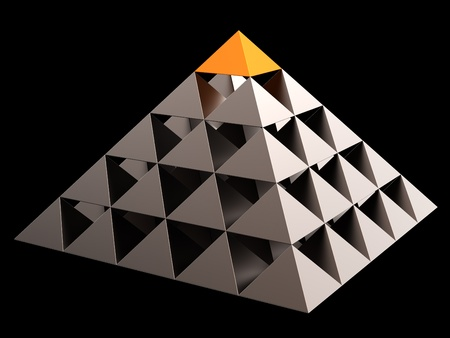 Golden all seeing eye financial pyramid abstract. Leadership concept. 3D render. Isolated on black Stock Photo - 8381429