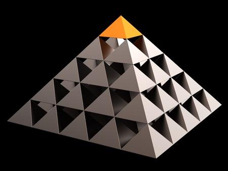 piramide humana: Oro todos Ver resumen de pir�mide financiera de ojo. Concepto de liderazgo. Procesamiento 3D. Aislados en negro