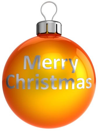 Orange Christmas ball bauble with chrome text Merry Xmas on it. This is a detailed 3d render. Isolated on white photo