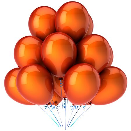 Orange helium balloons. Party concept. Flying up positive emotions. Happy Birthday greetings. This is a detailed 3D render