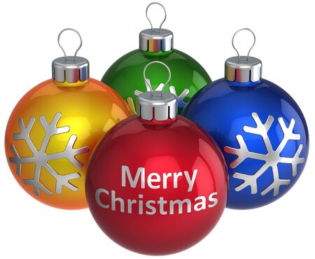 3d text: Xmas baubles. Merry Christmas text on red ball and three colorful (orange, green, blue) with silver snowflake shapes on them