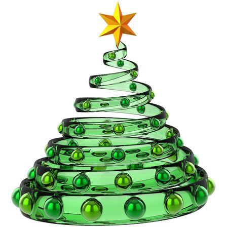 Árboles de Navidad moderno, hecho de vidrio verde con objetos metálicos y brillante estrella amarilla. Estilizado y hermoso. Representación 3D Foto de archivo - 8381529