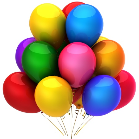 helium: Beautiful helium balloons. Party concept. Positive emotions. This is a detailed 3D render. Isolated on white background Stock Photo