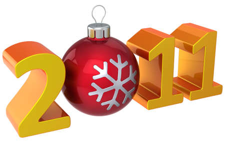 Stylized 2011 orange shiny word with glossy red christmas bauble as zero number. This is a detailed 3D render (Hi-Res) photo
