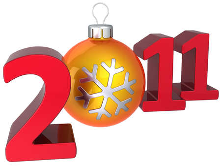New 2011 Year red numbers with modern orange christmas ball as zero number. 3D render. Merry Xmas and Happy New Year! photo